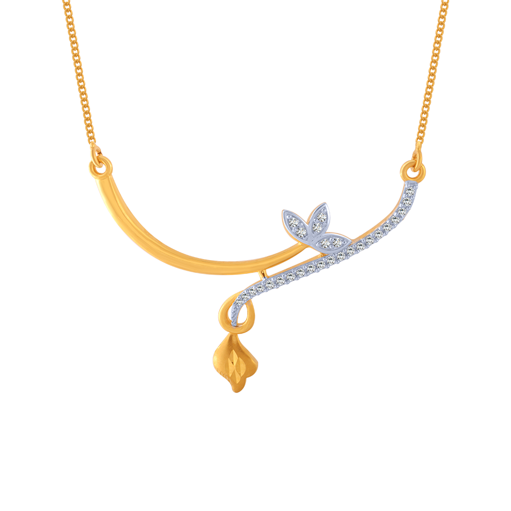 14KT (585) Yellow Gold and American Diamond Chain for Women