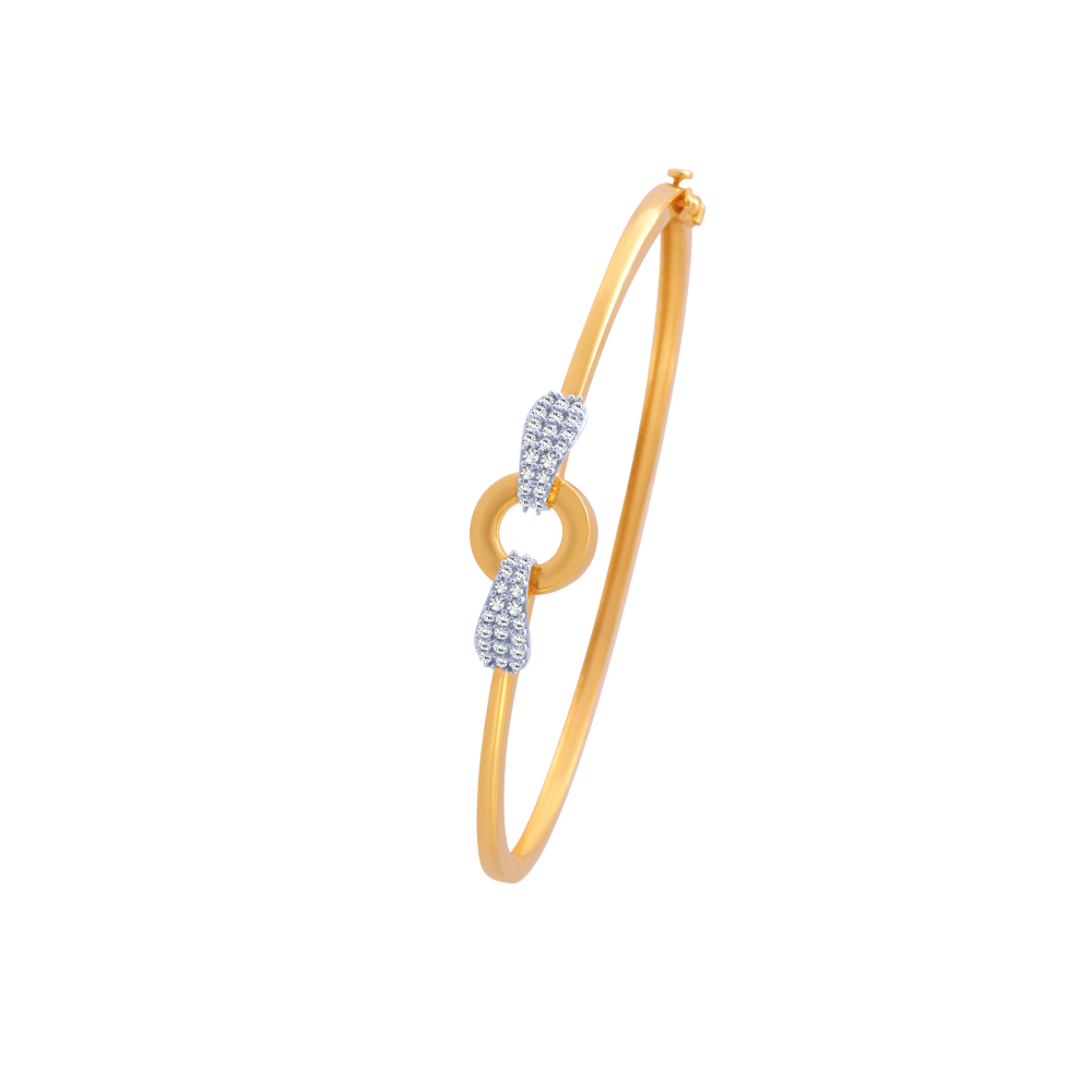 14KT (585) Yellow Gold and American Diamond Bangle for Women
