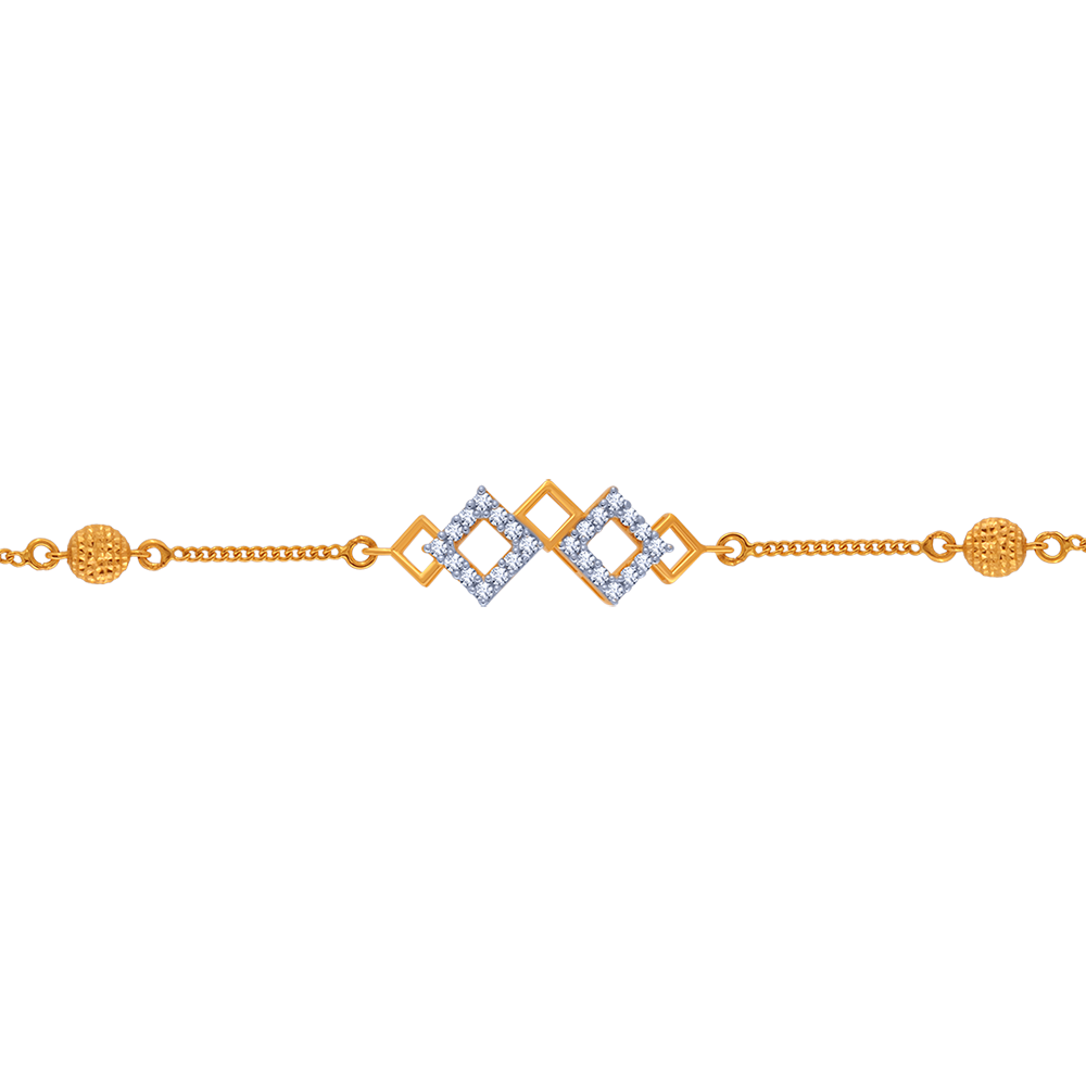 14KT (585) Yellow Gold and American Diamond Bracelet for Women