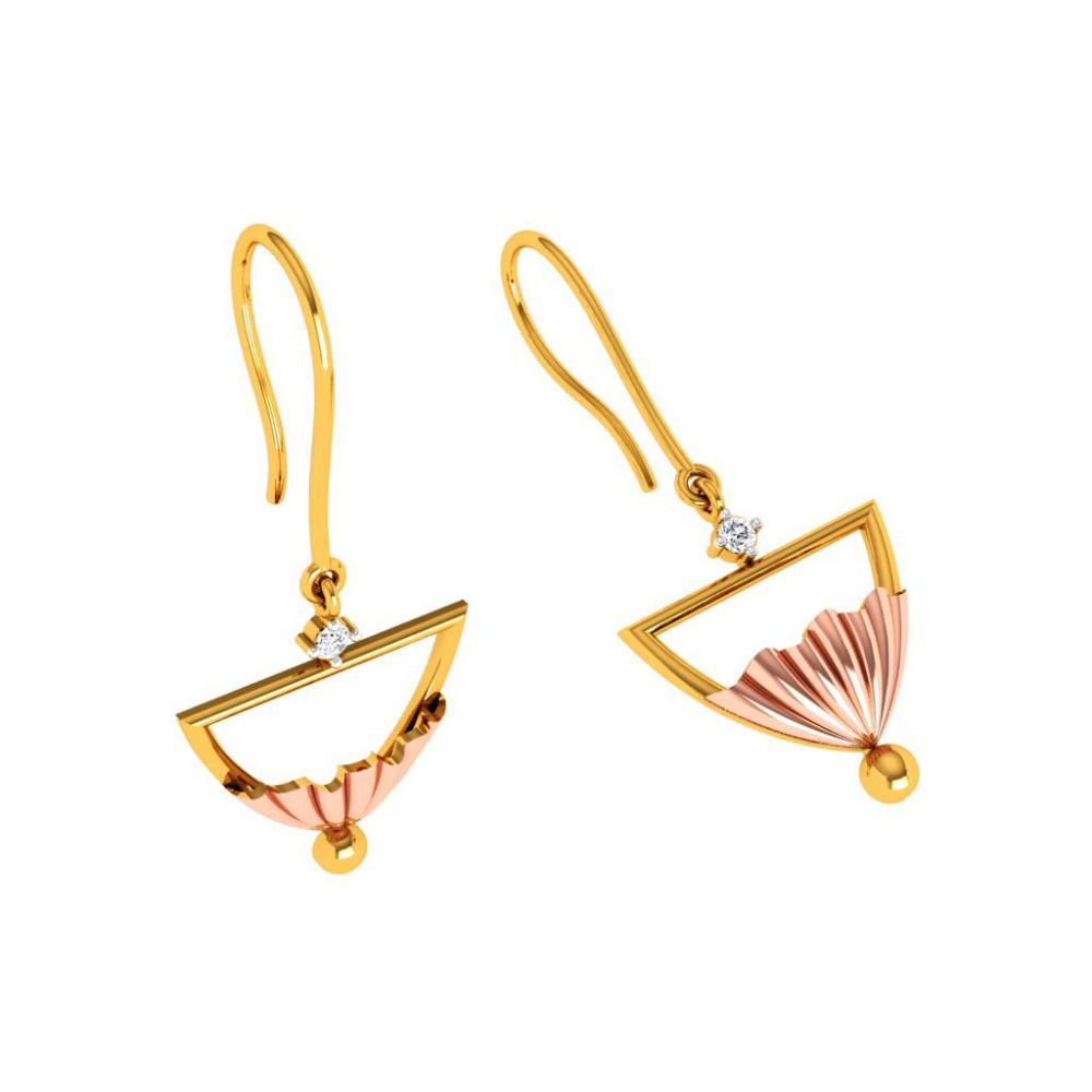 18KT (750) Yellow Gold Diamond Earring for Woman