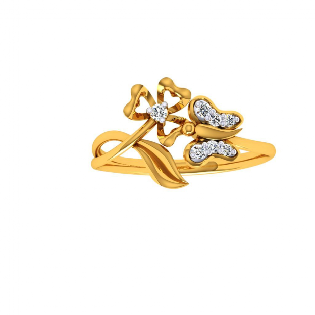 18KT (750) Yellow Gold and Diamond Ring for Women